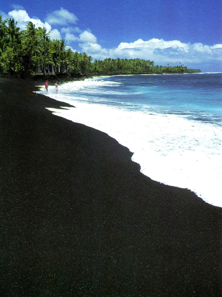 Elevated concentrations of battered lava and volcanic rock form black sand in some of the beaches around the globe