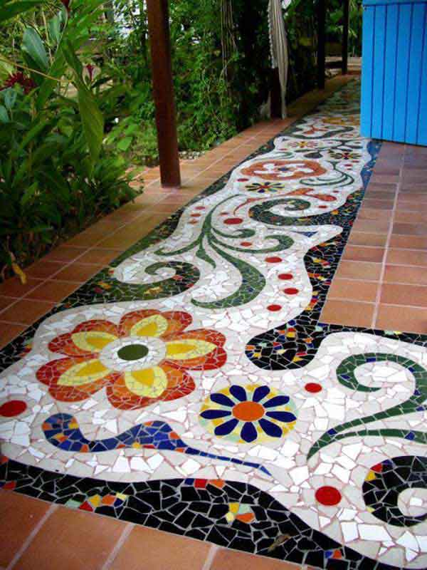 Be the envy of all homeowners by creating an artistic mosaic pathway specifically designed to add glam to your patio.