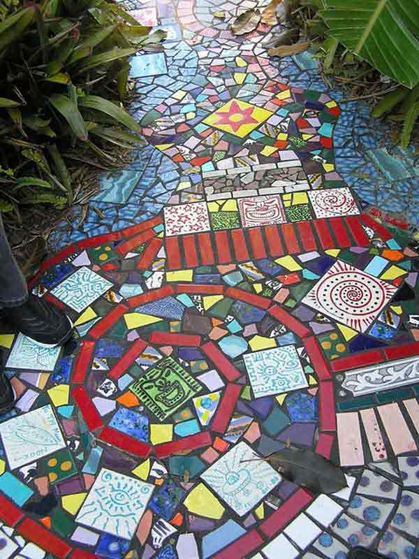 With colorful tiles at hand, you can create a garden path that's majestically beautiful
