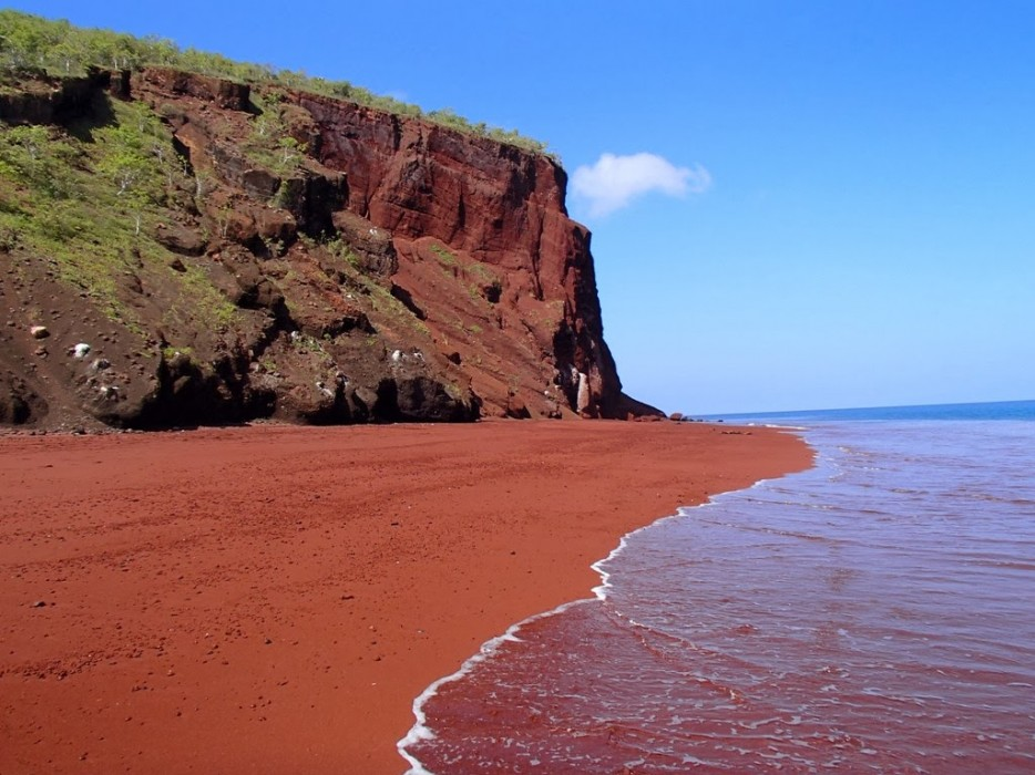 Red sand beaches are formed due to the collision of volcanic rock, large iron deposits and the eroding waves of the ocean.