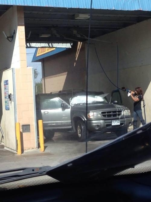 That's probably not how you should be using a car wash, but knock yourself out.