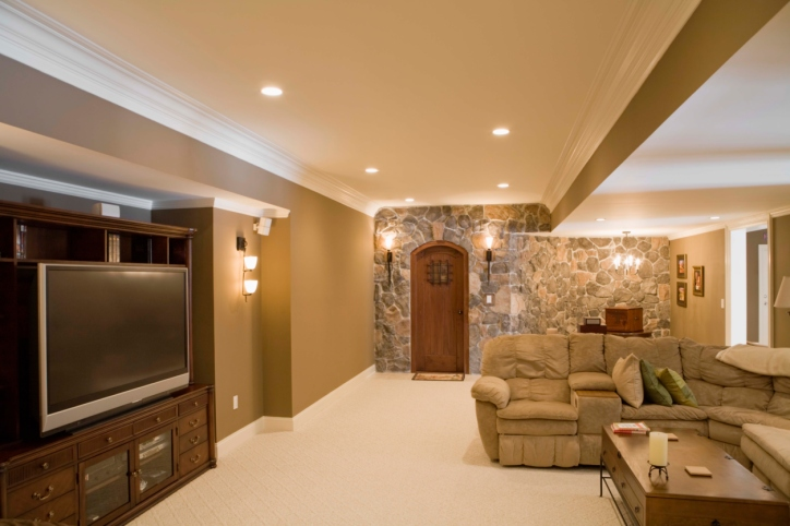 The above photograph is of a family-room inspired type of finished basement.