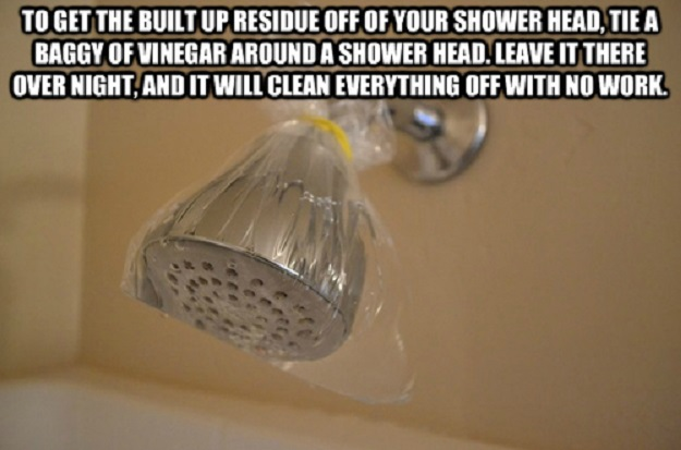 To get the built up residue off of your shower head, tie a  baggy of  vinegar around a shower head. Leave it there overnight, and it will clean everything off with no work.