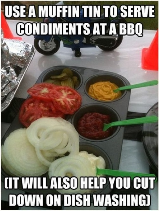Use a muffin tin to serve condiments at a bbq (it will also help you cut down on dish washing.)