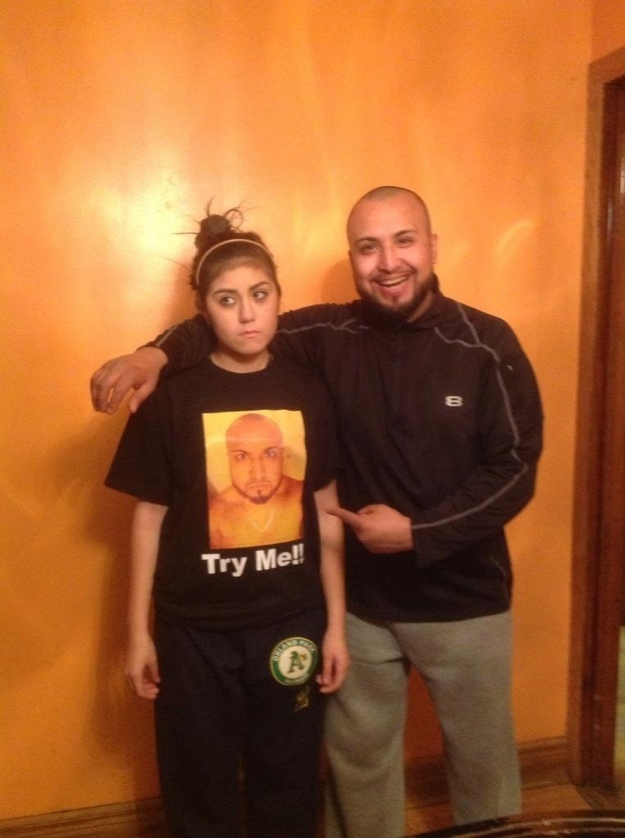 This dad who punished his daughter by making her wear his face to school.