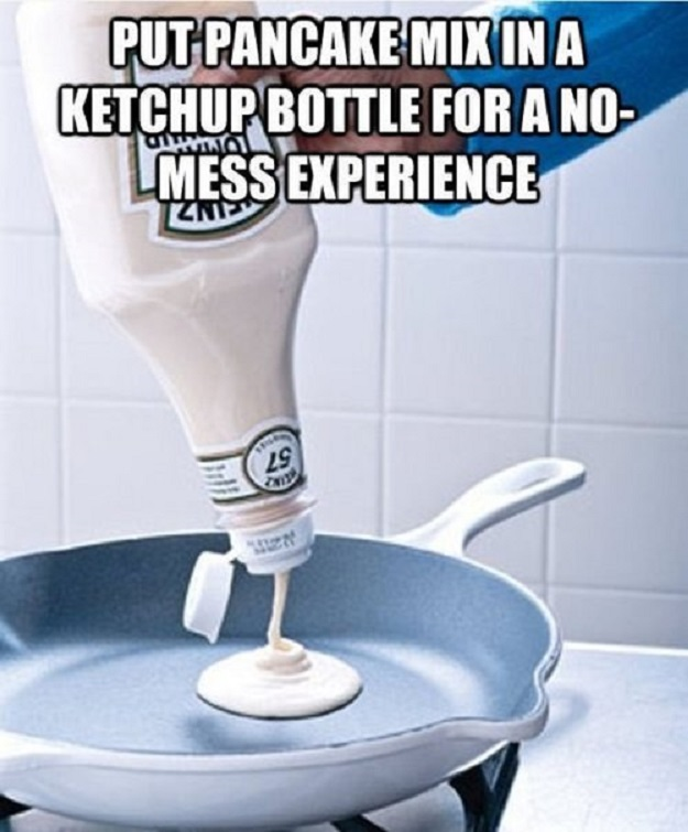 Put pancake mix  in a ketchup bottle for a no-mess experience.