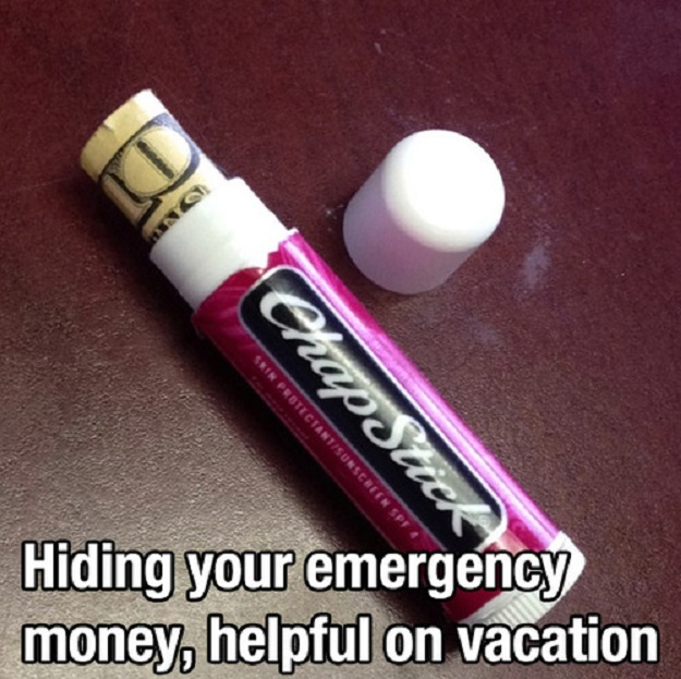 Hiding your emergency money, helpful on vacation.