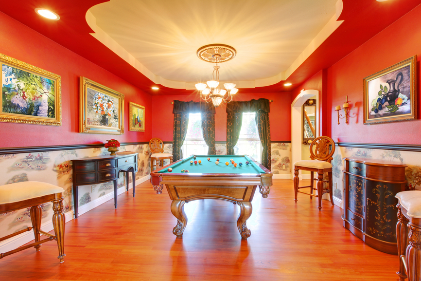 The above room is a classic old-school game room.