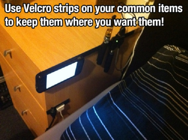 Use Velcro strips on your common items to keep them where  you want them!