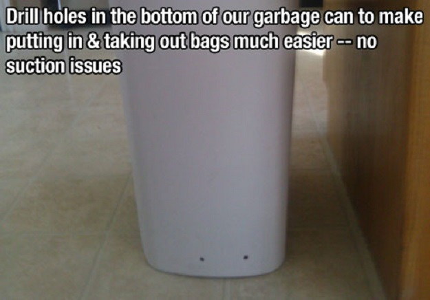 Drill holes in the button of our garbage can to make putting in and taking out bags much easier, no suction issues.