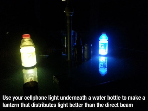Use your cellphone light underneath a water bottle to make a lantern that distribute light than the direct beam