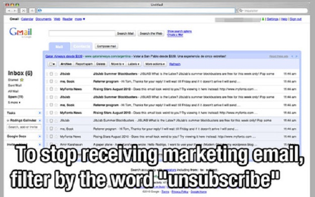 "To stop receiving marketing email, filter by the word ""unsubscribe."""