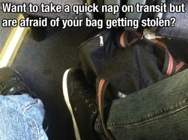 Want to take a quicl nap on transit but are afraid of your bag getting stolen?