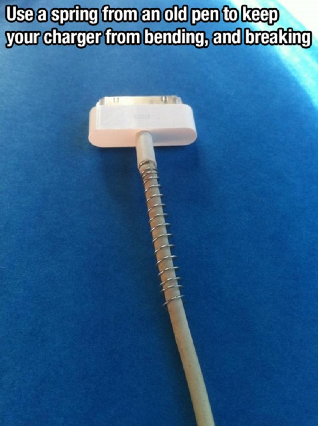 Use a spring from an old pen to keep your charger from bending, and breaking.