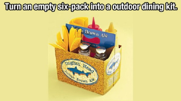 Turn an empty six-pack into an outdoor dining kit.