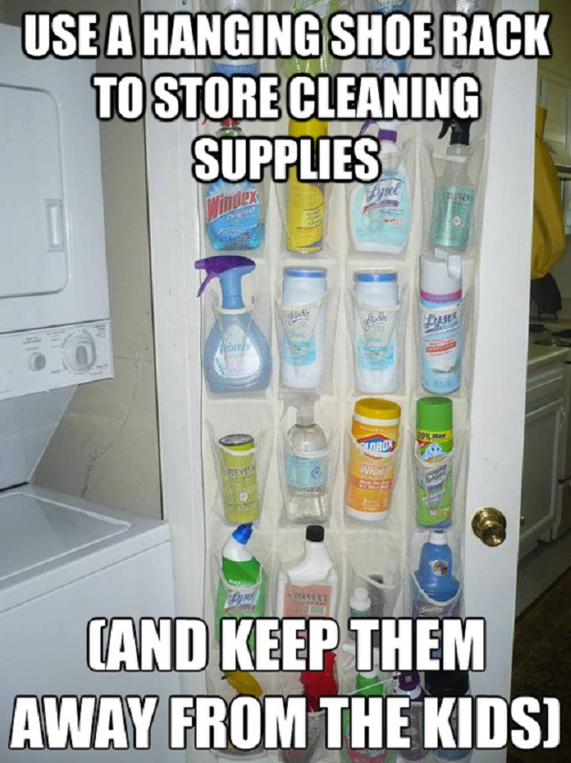Use a hanging shoe rack to store cleaning supplies (and keep them away from the kids.)