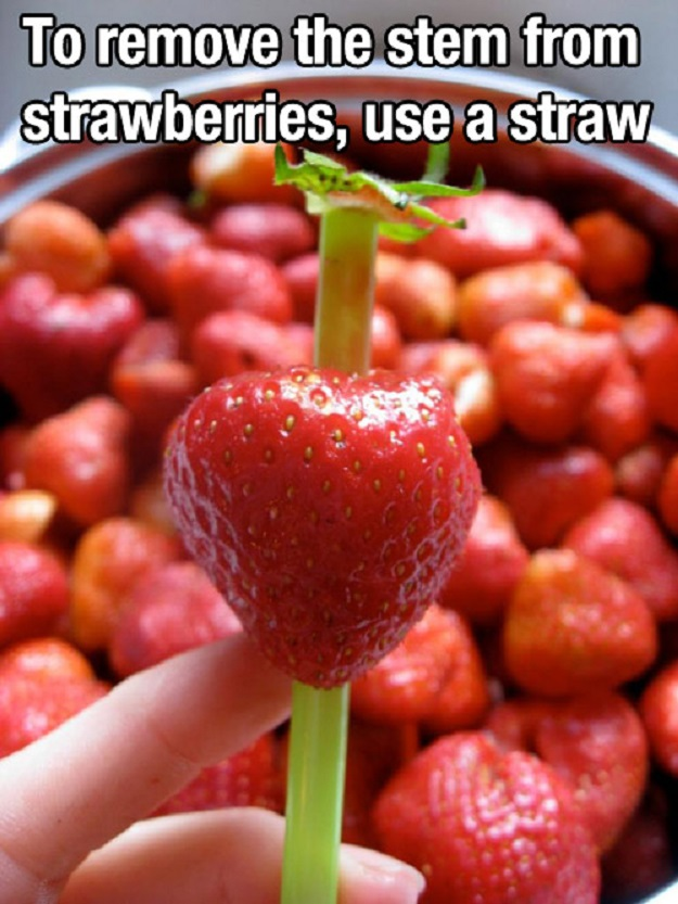 To remove the stem from stawberries, use a straw.