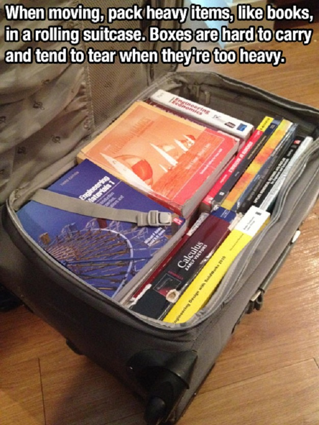 When moving, pack heavy items, like books, in a rolling suitcase. Boxes are hard to carry and tend to tear when they're too heavy.