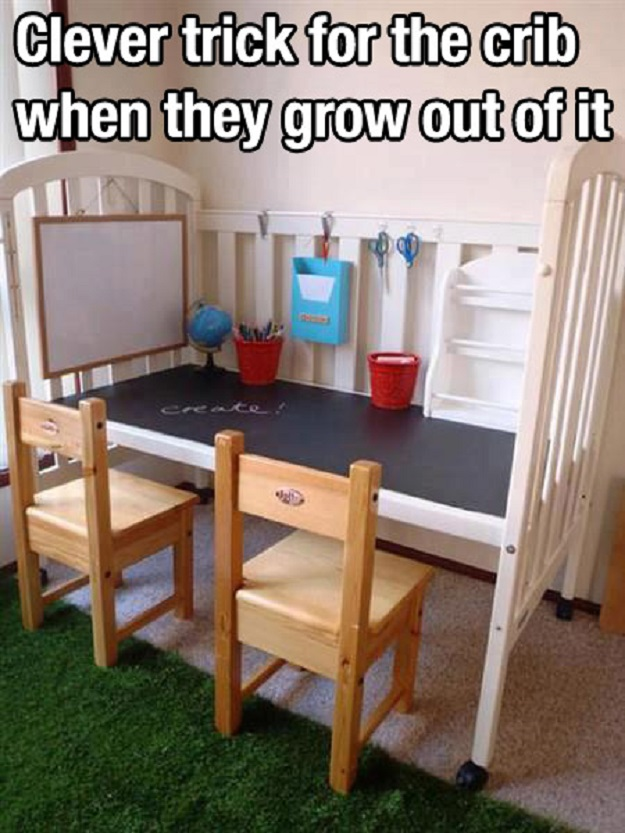 Clever trick for the crib when they grow out of it.