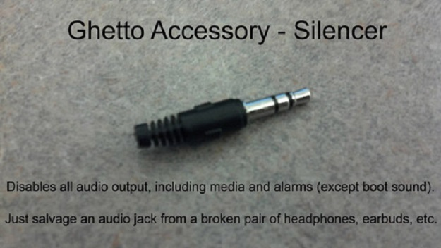 Disables all audio output, including media and alarms. Just salvage an audio jack from a broken pair of headphones, earbuds, etc.