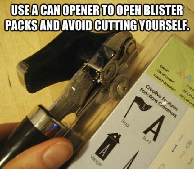 Use a can opener to open blister packs and avoid cutting yourself.