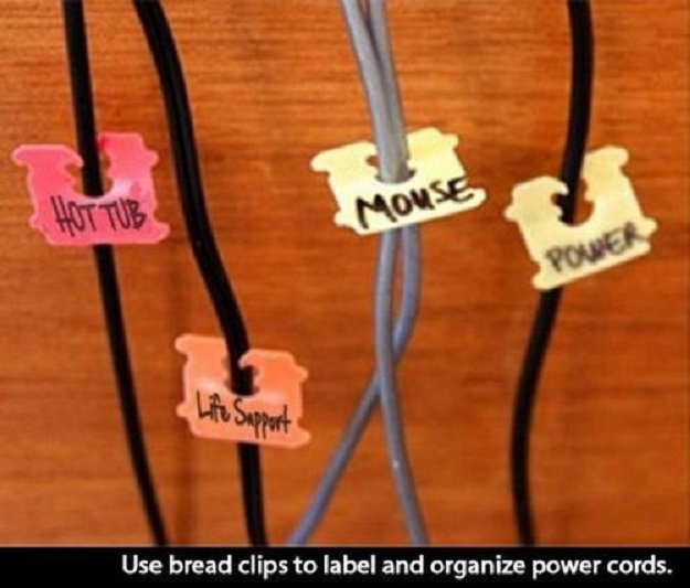 Use bread clips to label and organize power cords.