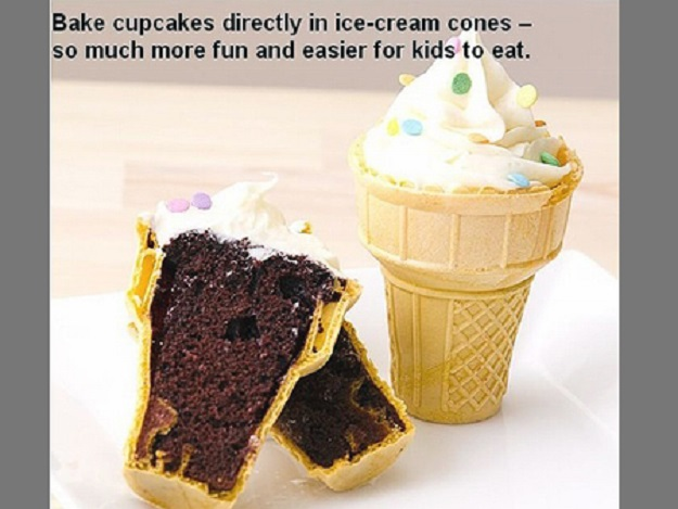 Bake cupcakes directly in ice-cream cones so much more fun and easier for kids to eat.
