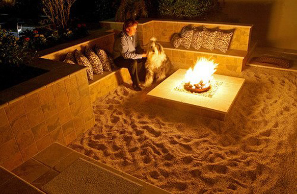 Backyard Beach Themed Fire Pit