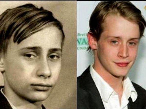 Vladimir Putin(at a younger age) and Macaulay Culkin Read more at http://emgn.com/entertainment/20-celebrities-who-have-twins-from-history-could-it-just-be-a-coincidence/#AfbAxXFiI1pJPY5x.99