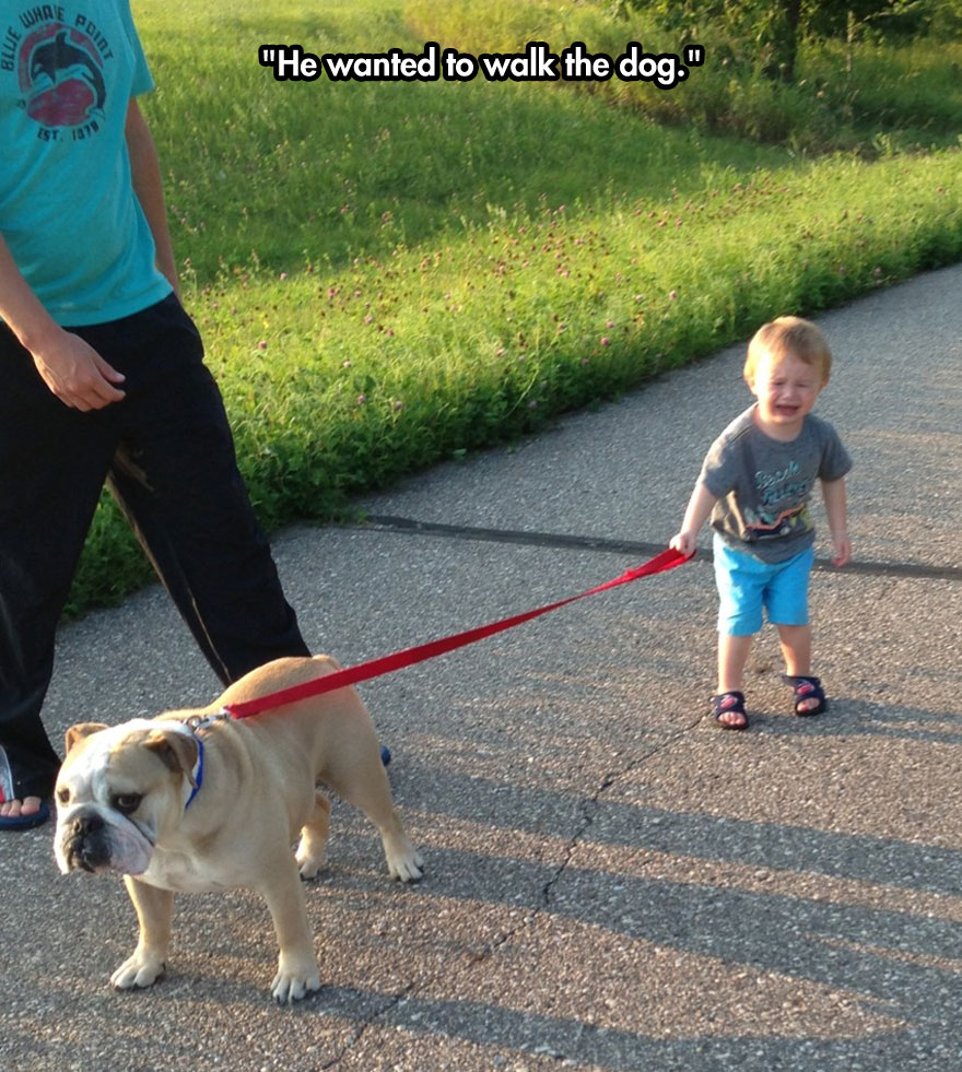 He wanted to walk the dog.