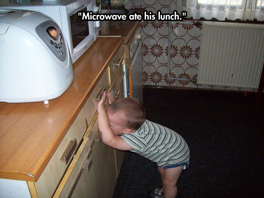 Microwave ate his lunch.