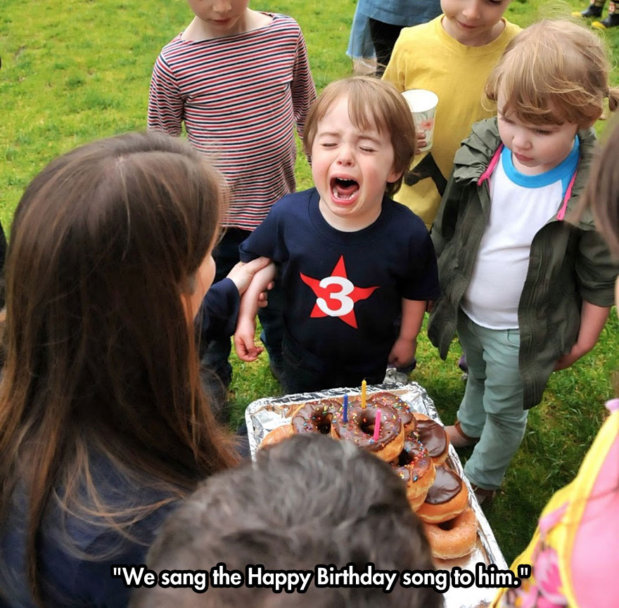 We sang the Happy Birthday song to him.