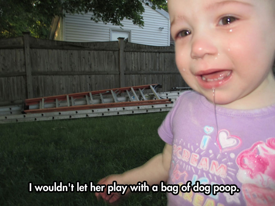 I wouldn't let her play with a bad of dog poop.