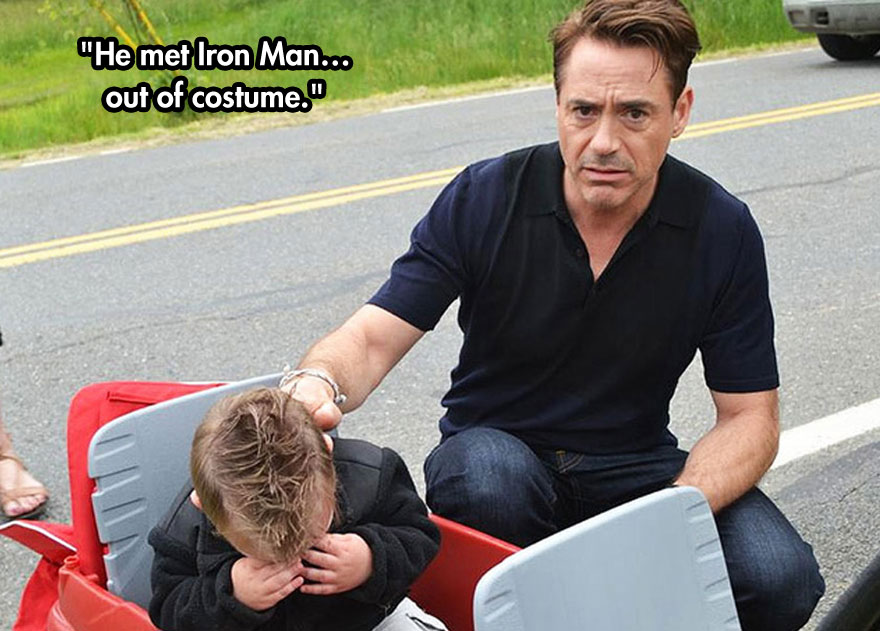 He met Iron Man...out of costume.