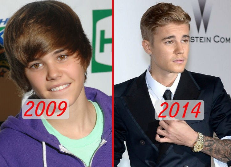 "Bieber released his first album ""My World"" in 2009, and he took the world by storm with his catchy voice and swooshy hair. Unfortunately for him, his public approval has faded after a string of violent outbursts, drug use, and legal issues. His appearance has changed as well, as he's cut his hair, gotten tattoos, and began dressing in a flashier manner."