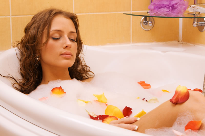 Having a long hot bath