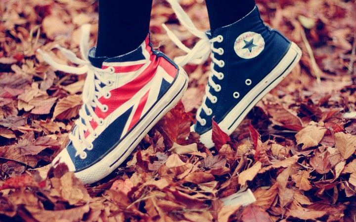 Stepping on crunchy autumn leaves