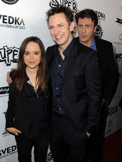 "HOLLYWOOD, CA - MARCH 21:  (L-R) Actress Ellen Page, James Gunn, and actor Nathan Fillion arrive at the premiere of IFC Midnight's ""Super"" at the Egyptian Theatre on March 21, 2011 in Hollywood, California.  (Photo by Kevin Winter/Getty Images) *** Local Caption *** James Gunn;Nathan Fillion;Ellen Page"