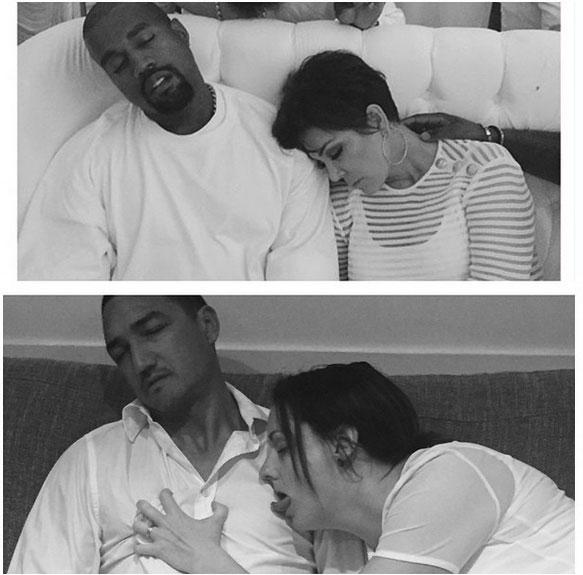 Kris and Kanye Snoozing