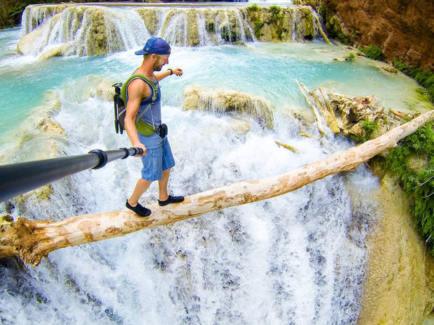 Batch 3- Extreme Selfies Taken By Everyday Individuals- Balancing in Front of a Waterfall