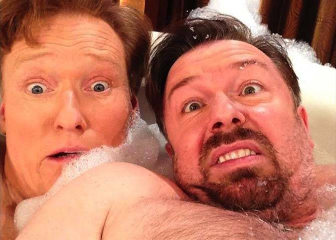 Batch 4- Selfie Mania- 15 Celebrities Who Did It Wrong- Conan O' Brien and Ricky Gervais