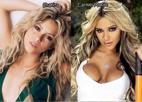 Shakira and Carmel Moore - Celebrity Twinnies