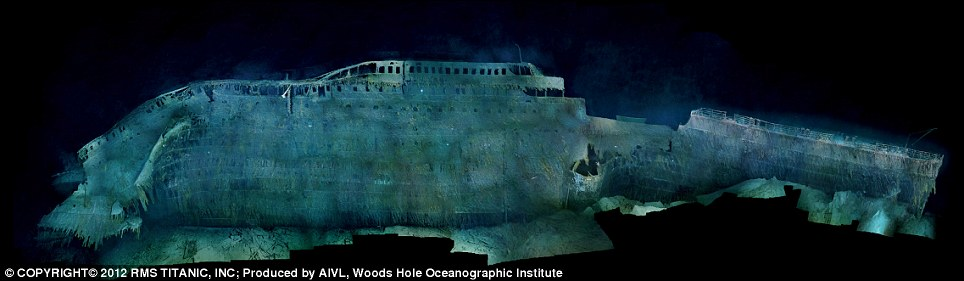 Titanic Side view after sinking