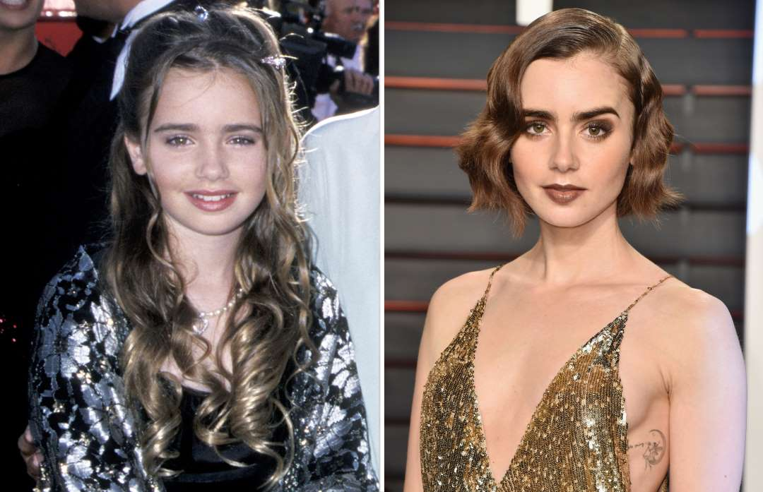 lily collins 2000 and 2016