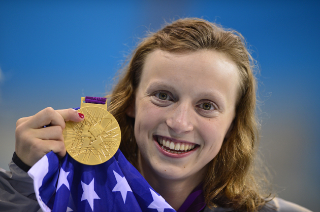 US swimmer Katie Ledecky poses on the p