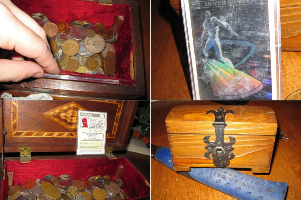 hidden trap door with antique coins