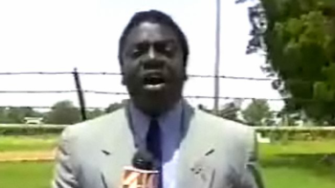 bug flies in reporters mouth