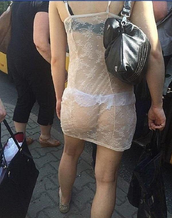mature see thru dress in public