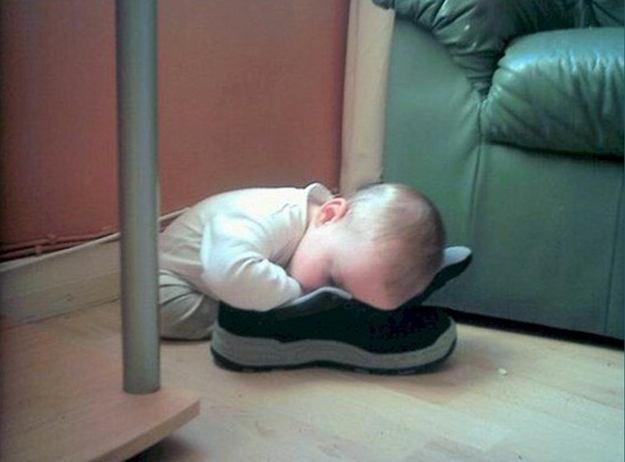 They fall asleep even with their shoes on.