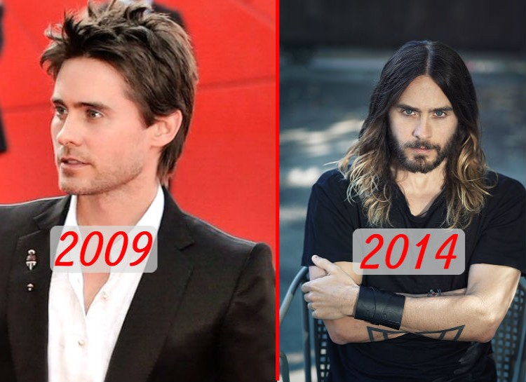 Leto is well-known for his ability to physically adapt to any role -- be it an overweight serial killer or a stick-thin transsexual woman. He's also been known to change his personal style as well, going from a more clean-cut look in 2009 to long ombre locks and facial hair currently.